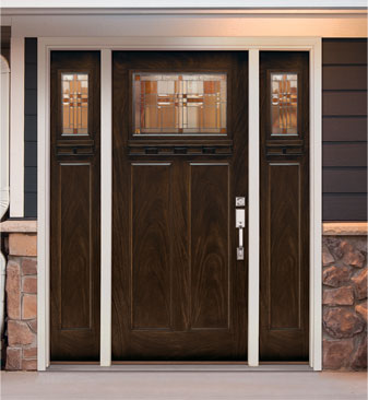 Monroe™ Zinc Craftsman Door \u0026 Sidelites with Amber Glass ... & Feather River Doors | Exterior Door Features \u0026 Benefits